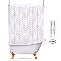 Riyidecor All Wrap Around Shower Curtain Polyester Fabric Panel 180×70 Inch White Chevron C ...