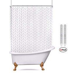 Riyidecor All Wrap Around Shower Curtain Polyester Fabric Panel 180×70 Inch White Chevron C ...