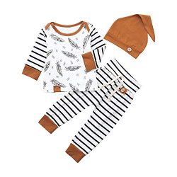 Newborn Toddler Infant Clothes Baby Boy Girl Feather T Shirt Tops Striped Pants Outfits Set 0-24 ...