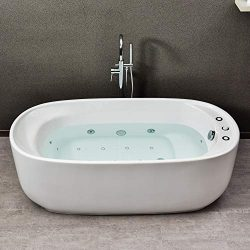 WOODBRIDGE 67″ Whirlpool Water Jetted and Air Bubble Freestanding Bathtub, B-0035, Whirlpo ...