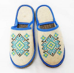 PetriStor 100% Natural Wool Felt Sauna Banya Slippers Ukrainian Ornament Blue for Men Bathhouse/ ...