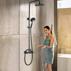 Rain Shower System Set, Mixing 8 Inch Rainfall Shower Head with Handheld Spray Bathroom Shower F ...