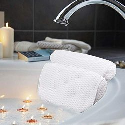 AmazeFan Bath Pillow, Bathtub Spa Pillow with 4D Air Mesh Technology and 7 Suction Cups, Helps S ...