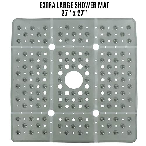 SlipX Solutions Extra Large Square Shower Mat Provides 65% More Coverage & Non-Slip Traction ...