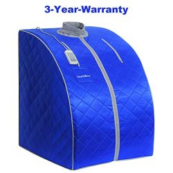 HEALTH LINE PRODUCT Portable Far Infrared Sauna, fit for People Under 6.6ft, Support 350lbs Home ...
