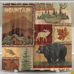 HONGYUDE Rustic Lodge Bear Moose 6072 Inch Bathroom Shower Curtain Set Waterproof Mold and Milde ...