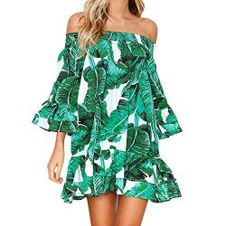 Vickyleb Summer Mini Dress, Women Casual Beach Leaves Pattern Plus Size Off Shoulder Ruffle Tuni ...