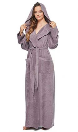 Arus Womens Princess Robe Ankle Long Hooded Silky Light Turkish Cotton Bathrobe Plum Medium