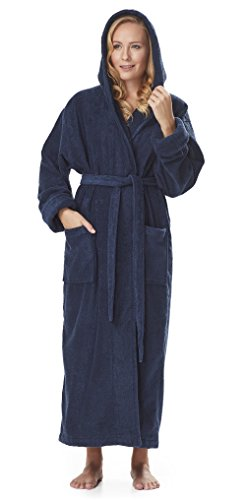 Arus Women's GOTS Certified Organic Cotton Hooded Full Length Turkish Bathrobe, Marine, L