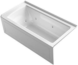 KOHLER K-1947-RA-0 Archer 60″ x 30″ Alcove Whirlpool with Integral Apron, Tile Flang ...