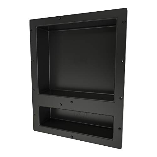 Redi Niche Double Recessed Shower Shelf – Black, Two Inner Shelves with Divider, 16-Inch W ...