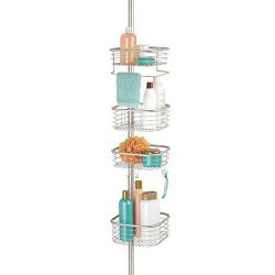 mDesign Metal Bathroom Shower Storage Constant Tension Pole Caddy – Adjustable Height R ...