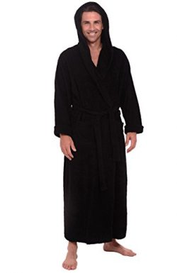 Alexander Del Rossa Mens Terry Cloth Cotton Robe with Hood, Big and Tall Bathrobe, 3XL 4XL Black ...