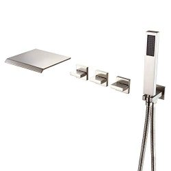 Wall Mount Tub Faucet Brushed Nickel With Hand Shower and Wide Waterfall Spout High Flow Rate, S ...