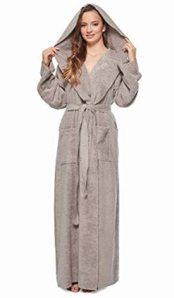 Arus Womens Princess Robe Ankle Long Hooded Silky Light Turkish Cotton Bathrobe Gray X-Large
