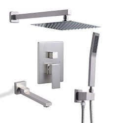 DoBrass Tub Shower Faucet Set Complete with 10 inch Square Rainfall Shower Head, Handheld Shower ...