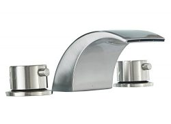Homevacious Widespread Bathroom Sink Faucet Led Light Waterfall Bath Tub Brushed Nickel 8-16 inc ...
