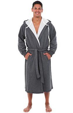 Del Rossa Men's Sweatshirt Style Hooded Cotton Bathrobe Robe,1XL 2XL Dark Heather Gray (A0 ...