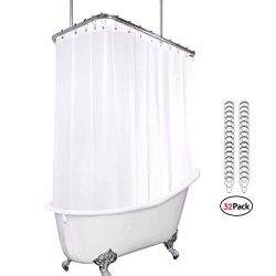 Riyidecor White All Around Shower Curtain Set 180 x 70 Inches PEVA Extra Wide Wrap Around Shower ...