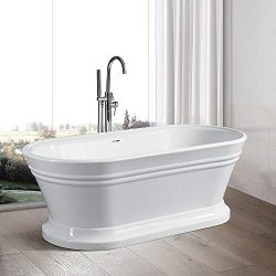 Vanity Art 67-Inch Freestanding White Acrylic Bathtub | Modern Stand Alone Soaking Bathtub with  ...