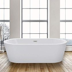 WOODBRIDGE BTA-1504 Acrylic Freestanding Bathtub Contemporary Soaking Tub with Brushed Nickel Ov ...