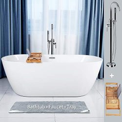 FerdY 67″ Gracefully Shaped Freestanding Bathtub, with Chrome Coating Stand Alone Faucet & ...