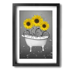 Ale-art 12″x16″ Frame Bathroom Canvas Art Yellow Grey Sunflowers in Bathtub Bubbles  ...