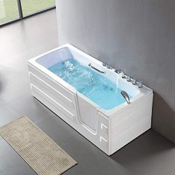 Mecor Walk-in Whirlpool Bathtub, Rectangular Soaking Bathtub,Right Intward Opening Door and Rig ...
