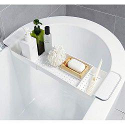 BROADSEAL Expandable Bathtub Tray,Adjustable Bathtub Caddy Tray and Organizer for Book/Wine/Phon ...