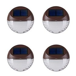 Solar Deck Lighting Wall Lights – 4 Pack Outdoor Wireless Solar Dock Step Road Marker Warm ...