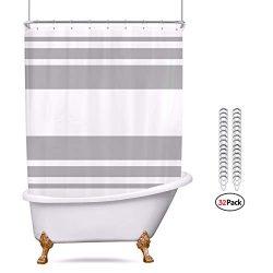 Riyidecor Clawfoot Tub Shower Curtain 180×70 Inch All Wrap Around Panel Grey and White Stri ...