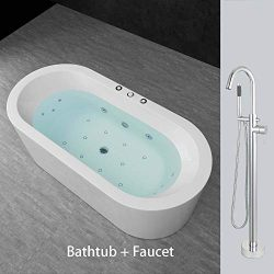 Woodbridge 67″ Whirlpool Water Jetted and Air Bubble Freestanding Bathtub Overflow and Dra ...