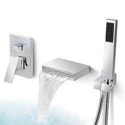 Dr Faucet Waterfall Spout Wall Mounted Tub Faucet for Bathroom Modern Single Handle Wall Bathtub ...