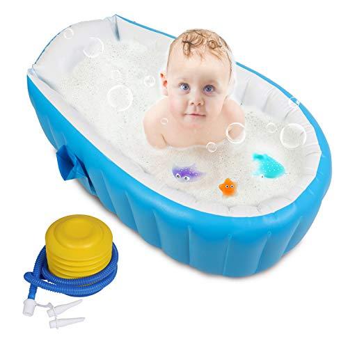 Baby Inflatable Bathtub, FLYMEI Portable Infant Toddler Non Slip Bathing Tub Travel Bathtub Mini ...