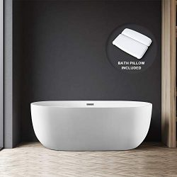 BATH MASTER 55″ Freestanding Bathtub Acrylic Bathroom Soaking Tub with Chrome Overflow and ...