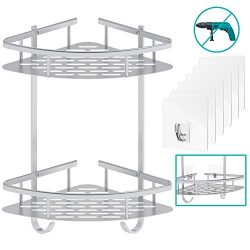 Shower Shelf Flowmist No Drilling Bathroom Shelf Durable Aluminum Kitchen Storage Basket 2 Tiers ...