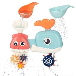 cossy Baby Bath Toy, Toddlers Octopus and Whale Water Toys with Spinning Gears and Googly Eyes f ...