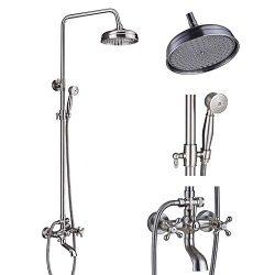 Votamuta Brushed Nickel 8-Inch Rain Shower Faucet Set Wall Mount Bathtub Height Adjustable Showe ...