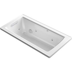 KOHLER K-1947-0 Archer Drop-In Whirlpool Bath, 60″ x 30″, White