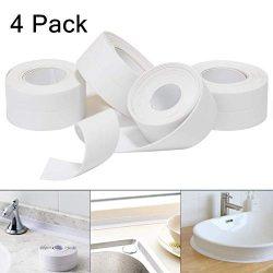 4 Pack Caulk Strip,PE Sealing Tape Self Adhesive Caulking Sealant Tape ,Bathroom Sealant Tape PE ...