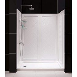 DreamLine SlimLine 30″ by 60″ Shower Base Left Hand Drain and QWALL-5 Shower Backwal ...