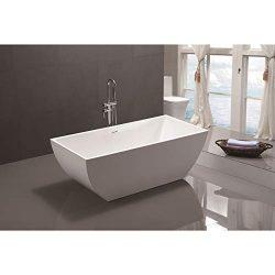 Vanity Art 59 Inch Freestanding Acrylic Bathtub   Modern Stand Alone Soaking Tub with Chrome Fin ...