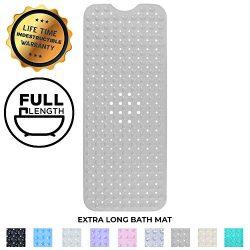 Enkosi Bath Mat – Large Non Slip Bathtub & Shower Mat – Extra Long 40 x 16 Inch  ...