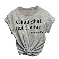 St.Dona_Women Blouse Short Sleeve Tees Fashion Womens Letters Printed Tops Casual O-Neck Plus Si ...
