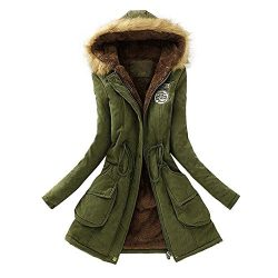 Vickyleb Women's Winter Warm Long Coat Fur Collar Hooded Jacket Slim Parka Outwear Coats A ...