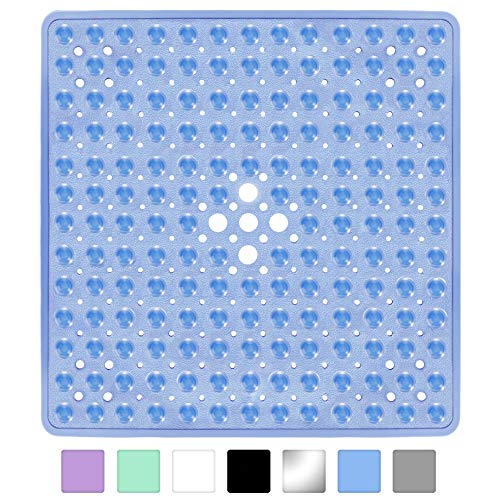 Yimobra Square Shower Mat for Bathtub, 21 x 21 Inches, Non-Slip with Drain Holes, Suction Cups,  ...