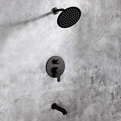 Matte Black Shower Faucet Set with Tub Spout Bathroom Luxury Rain Mixer Shower System Wall Mount ...