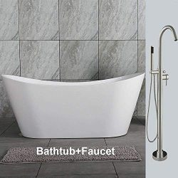 Woodbridge 59″ Acrylic Freestanding Bathtub Contemporary Soaking Tub Overflow and Drain BT ...