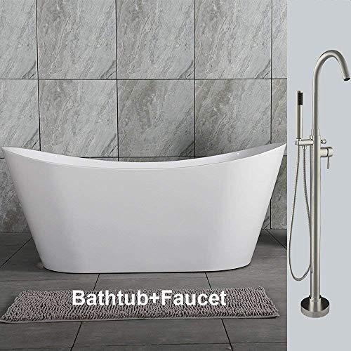 Woodbridge 59″ Acrylic Freestanding Bathtub Contemporary Soaking Tub Overflow and Drain BT ...