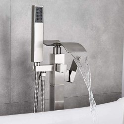 Votamuta NEW Bathroom Waterfall Spout Tub Filler Shower Faucet Floor Mount Brushed Nickel Single ...